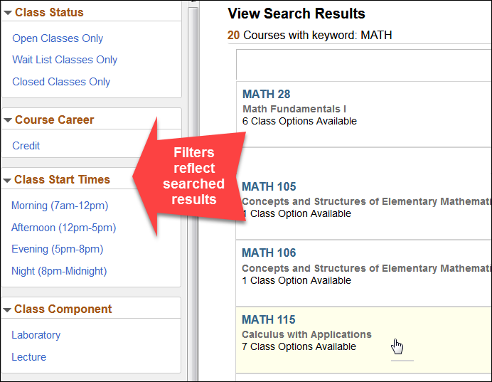 Class Search MATH Results